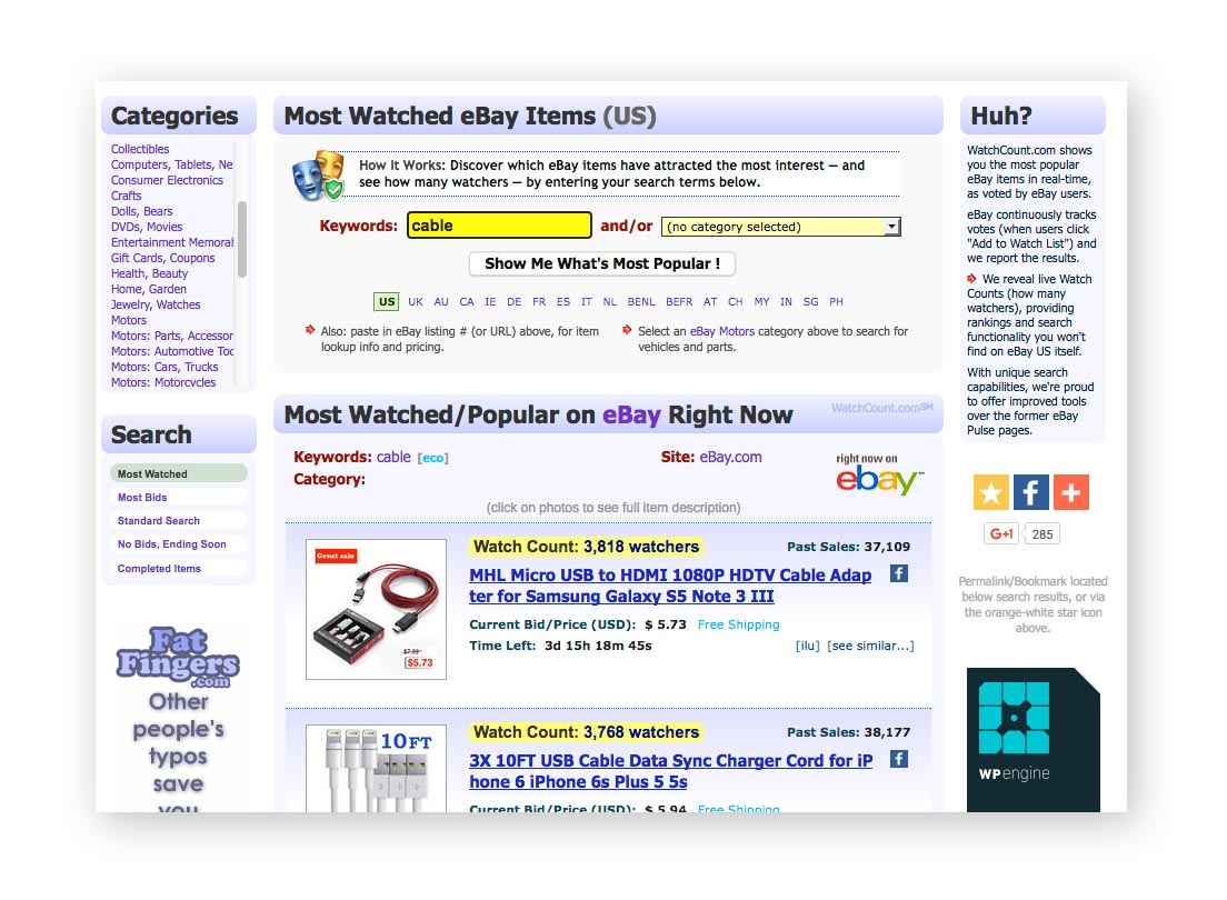 Investigando qué vender en internet a través de Watchcount