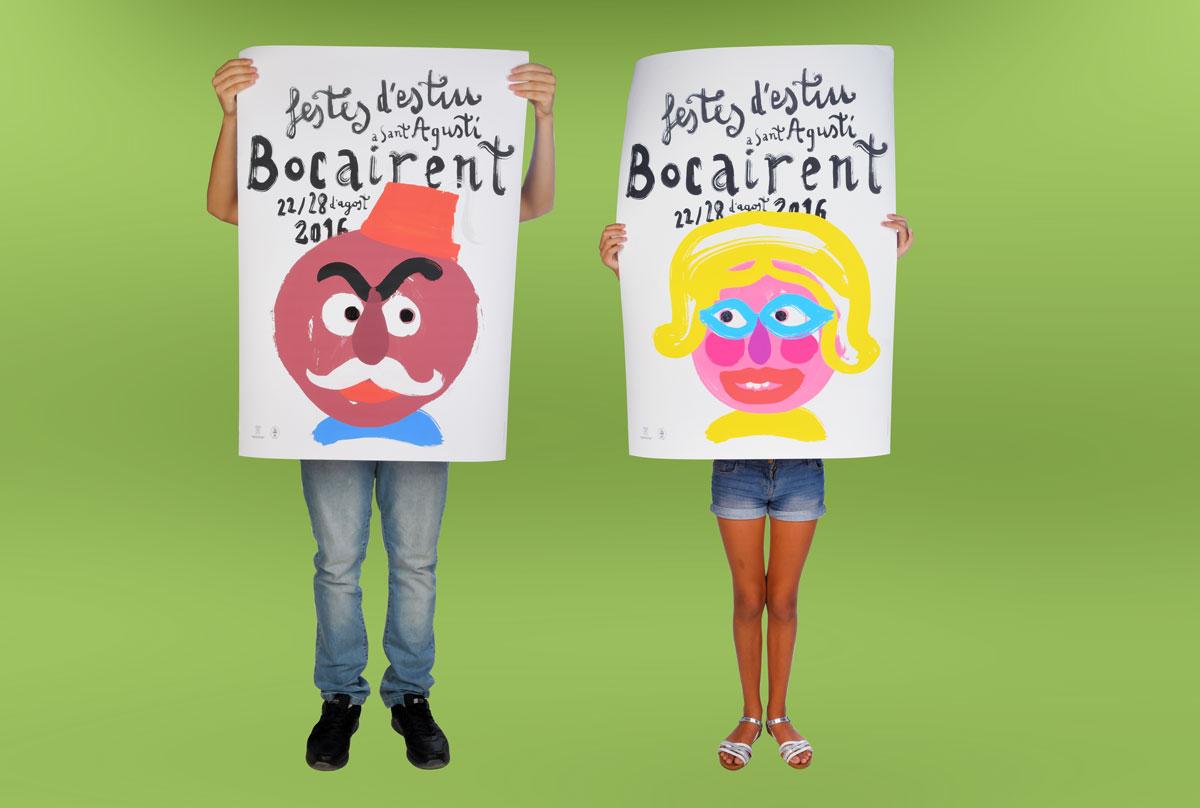 Diseño del cartel a dos caras para las fiestas de cabezudos de Bocairent