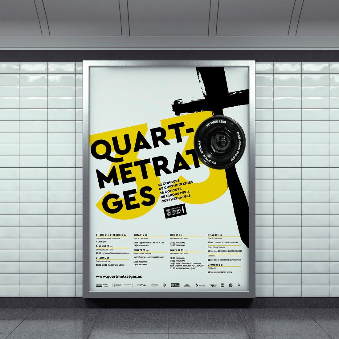 Diseño del cartel y mupi para Quartmetratges 2016